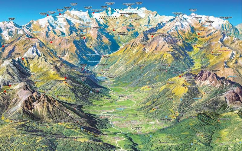 Stubaital Panoramakarte Sommer